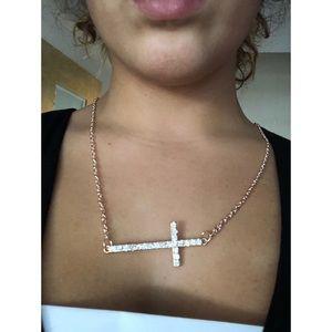 Rose Gold Rhinestone Cross Necklace